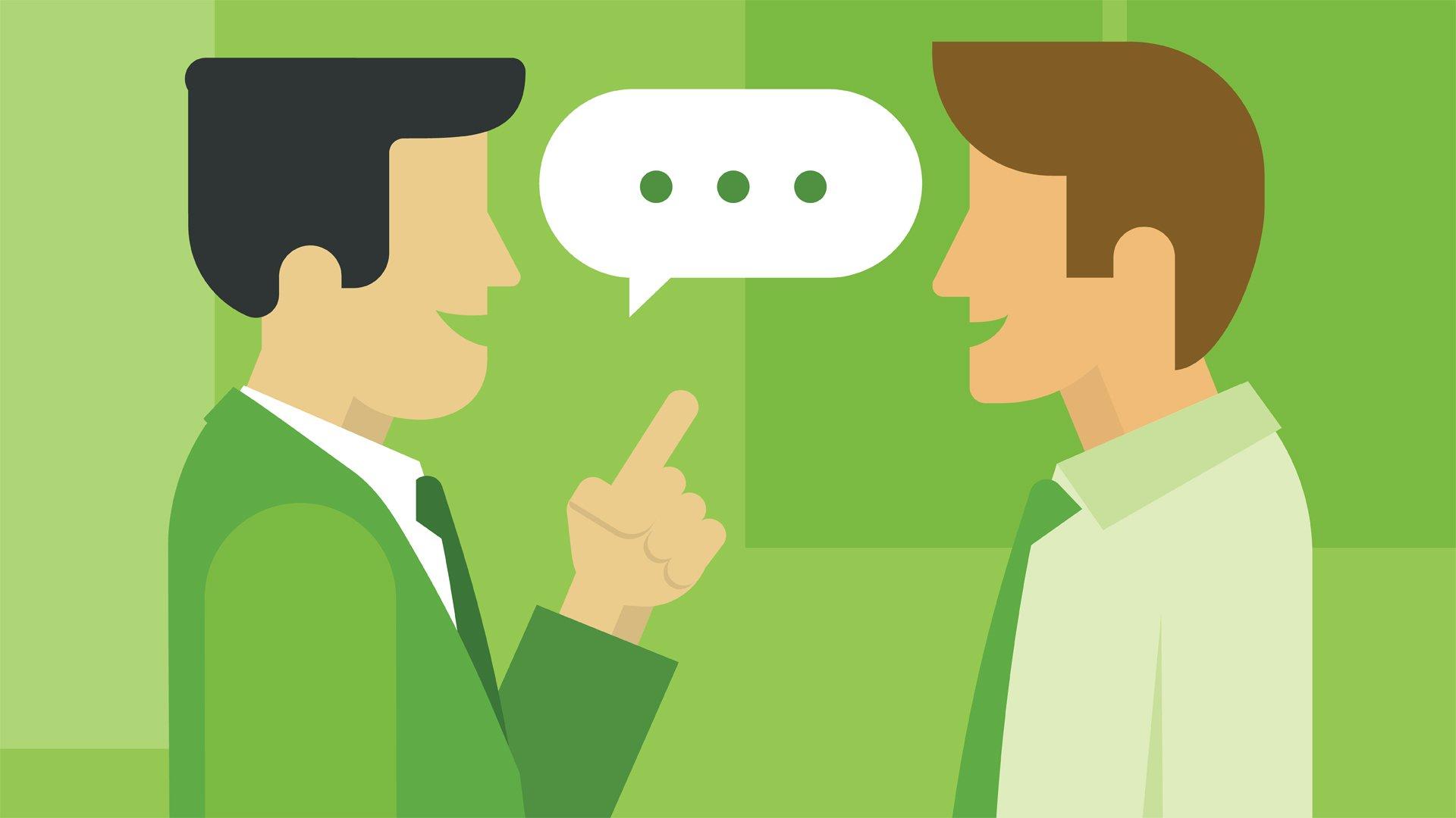 Tekening van twee mannen die in gesprek zijn.