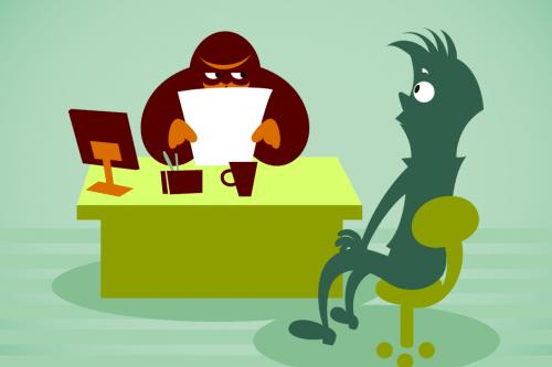 Tekening van een sollicitatieprocedure. De sollicitant kijkt angstig terwijl er naar zijn cv wordt gekeken.