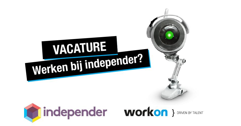 Afbeelding met de mascotte van independer en de logo's van Work-on en independer, met de begeleidende tekst 'Werken bij independer?'